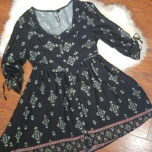 Feathers Black Boho Dress